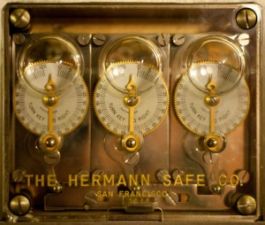 Image of a three dial mechanical time lock