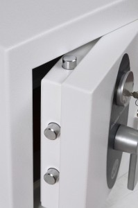 Close up of a safe door